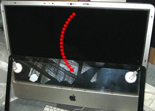 アップル iMac PC分解 ガラスの取り外し フロントガラスを外す