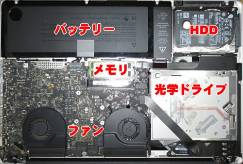 MacBookPro Late2011 15″「A1286」分解 HDDからSSD換装